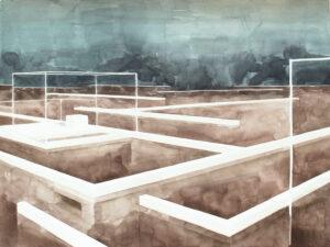 aquarelle architecture labyrinthe sur l'eau