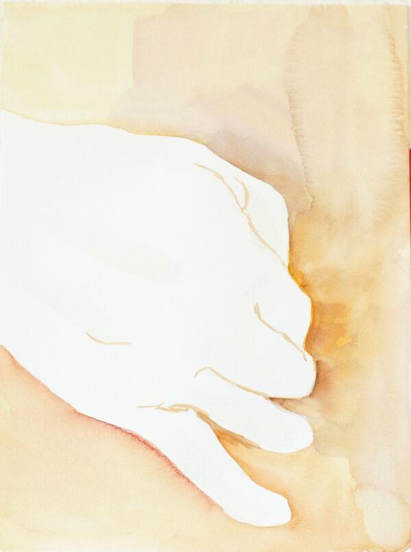 Aquarelle main fond jaune