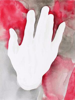 Aquarelle main fond rouge et gris