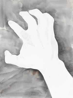 Aquarelle main fond gris